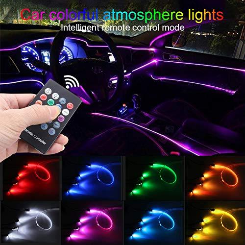 TABEN Umgebungslicht RGB Fernbedienung Auto Atmosphäre Licht Lampe Weiche DIY Refit 4m Glasfaserband 64 Farben Innenbeleuchtung Dekoratives Licht 1W DC 12V
