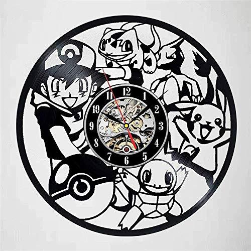 ZZLLL Pokemon Reloj de Pared de Vinilo de diseño Moderno Reloj de Pared Decorativo de Dibujos Animados