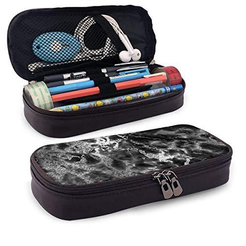 Black Silver Graphite Gray Marble Stone Portable Leather Pencil Case Pencil Bag Pouch with Zipper