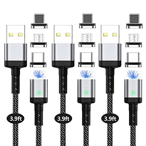 Magnetisch Ladekabel, Suntaiho 3-in-1 Nylon Magnetisch Schnellladekabel Unterstützung QC3,0 Schnellladung und Datensynchronisation für Micro USB/Type C/USB C/Smartphone (3PACK-3.9FT)