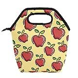 Bolsa de almuerzo para niñas y adultos, diseño de frutas rojas maduras, fondo amarillo, bolsa de picnic al aire libre, bolsas de almuerzo aisladas con cremallera, paquetes de comida, contenedores