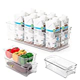 Smart Design Stackable Refrigerator Bin - (6 x 12 Inch) - w/Handle - BPA Free Polyethylene - for...