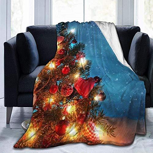 XXYDSDM Manta De Tiro Árbol De Navidad Bajo La Nieve Noche Impreso Ligero Súper Suave Franela Manta De Lana Cálida Ajuste Sofá Cama Sofá Silla Niños/Adultos 80X60 Pulgadas