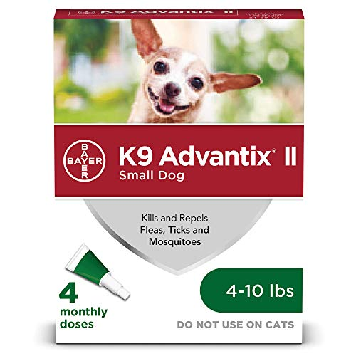 Bayer K9 Advantix II Flea, Tick and Mosquito Prevention for Small Dogs, 4 - 10 lb, 4 doses
