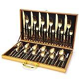 42pcs Oro Cubiertos vajilla de acero inoxidable del vajilla del cuchillo Tenedor Cuchara de paja sistema de cepillo con la caja de madera regalo de vajilla cuberteria acero inoxidable