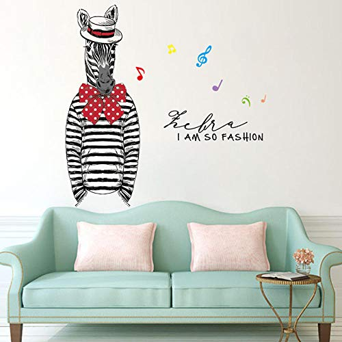 Fotobehang, zelfklevend, voor kinderkamer, dieren, Nordic zebrapatroon, muzieksymbool, vinyl, afneembaar, voor het verwijderen en plakken van stickers voor kinderen, slaapkamer en woonkamer
