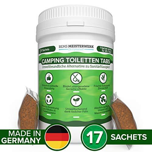 Camping Toiletten Tabs - Umweltfreundliche Alternative zu Campingtoilette Sanitärflüssigkeit - 17 Ungiftige Tabs mit Löslicher Folie - Bindet Gerüche Effektiv und Zersetzt Fäkalien & Toilettenpapier