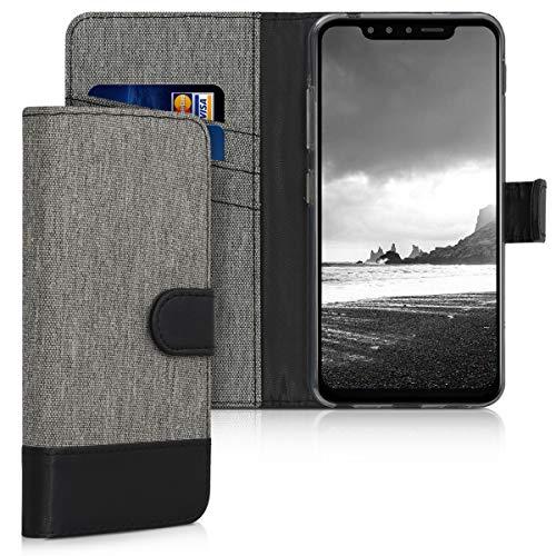 kwmobile Wallet Hülle kompatibel mit LG G8s ThinQ - Hülle Kunstleder mit Kartenfächern Stand in Grau Schwarz