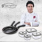 San Ignacio Black&Marble - Set 3 sartenes (16-20-24 cm) y 4 fiambreras aluminio prensado con revestimiento de mármol, apto para todo tipo de cocinas incluido inducción
