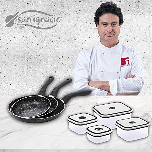San Ignacio Black&Marble - Set 3 sartenes (16-20-24 cm) y 4 fiambreras...