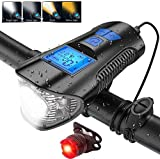 Quan Bike Speedometer with LED Bicycle Light, USB Rechargeable Front Light and Rear Light ...