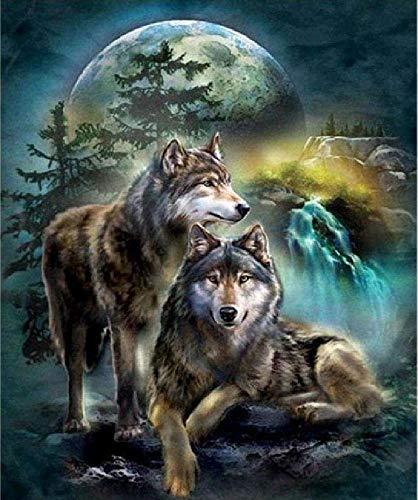 Het model van de begeleider wolf in maanvergunning – 1000 delen houten puzzel, hoge kwaliteit en grote maten, een goed cadeau voor vrienden.