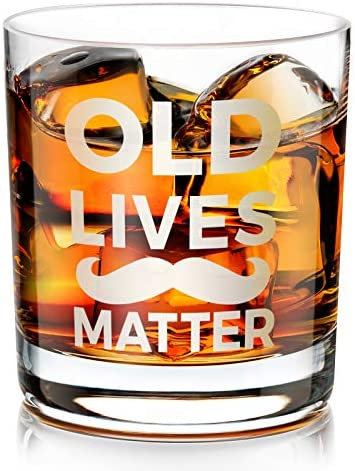 Old Lives Matter Whiskey Glass Funny Birthday Gag Gifts for Men Dad Grandpa Seniors for Birthday product image