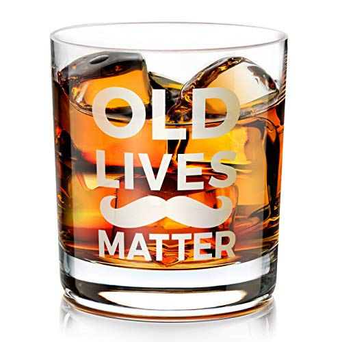 Kollea Old Lives Matter Whiskey Glass, Funny Gag Gifts for Men, Dad, Grandpa, Seniors for Birthday, Anniversary, Retirement, Old Fashioned Whiskey Glass 10 Oz with 4 Greeting Cards