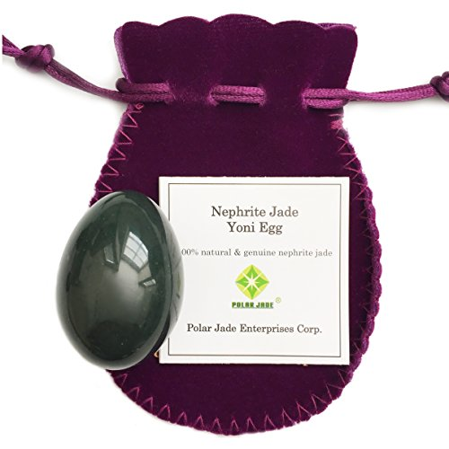 Genuine Nephrite Jade Egg, Undrilled, For Kegels To Train Pelvic Floor Muscles and for Crystal Healing In Meditation, By Polar Jade (Medium (43 x 30mm))