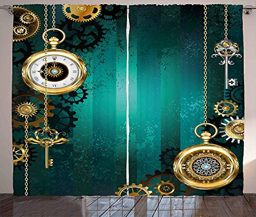 MLNHY Industrial Curtains, Antique Items Watches Keys And Chains with Steampunk Influences Illustration, Living Room Bedroom Window Drapes 2 Panel Set,Green Gold,Size:110 X 74 Inches