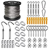 1/16 Wire Rope Kit, 304 Stainless Steel Wire Cable, Vinyl Coated Aircraft Cable, 7x7 Stranded Core Outdoor Light String Suspension Kit, with Turnbuckle, Aluminum Crimping Ring, Cable Clip Clamp