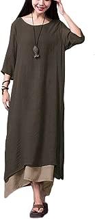 Women Casual Maxi Dress Vintage Chinese Style Layers Loose Boho Long Dress