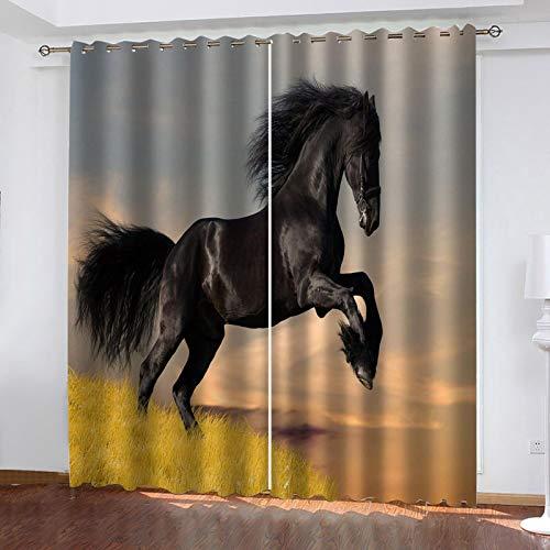 WLHRJ Cortina Opaca en Cocina el Salon dormitorios habitación Infantil 3D Impresión Digital Ojales Cortinas termica - 183x214 cm - Pastizales Negro Animal Caballo