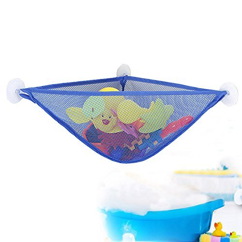 WoSite Bath Toy Organizer with 3 Strong Suction Cups - Bath Toy Storage Net and Corner Shower Caddy Bag for Kids - The Bathroom Storage Ideas for Baby Boys and Girls