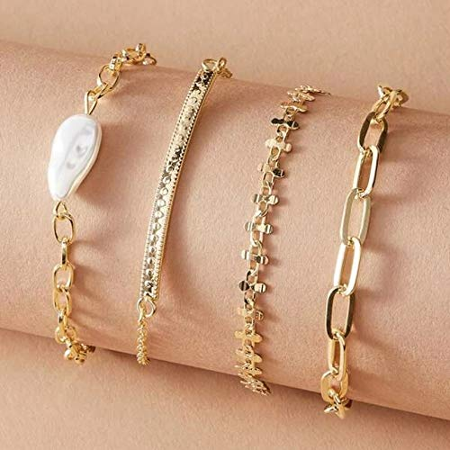 YIKOUQI 4 unids/Set Pulseras de Piedra con Perlas Irregulares para Mujer, Encantadora Borla, aleación de Color Dorado, joyería Ajustable de Metal