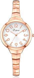 Yuanhua Wrist Watch, 4 Colors Female Quartz Movement Watch with Alloy Thin Strap and Analog Round Bracelet Wristwatch