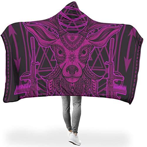 Dofeely Mandala-patroon met dierenprint, hooded blanket van microvezel, soft-mantel voor de winter tv, microvezel deken voor volwassenen