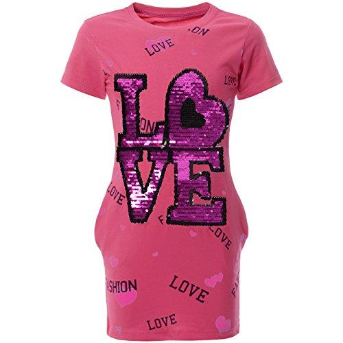 BEZLIT Mädchen Kinder Sommer Tunika Wende-Pailletten Kleid 22053 Pink Größe 140