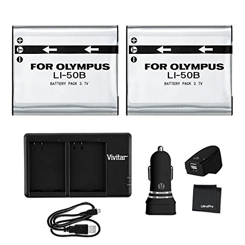 UltraPro 2-Pack LI-50B High-Capacity Replacement Batteries w/Rapid Dual Charger for Select Olympus Cameras - UltraPro Bundle Includes: AC/DC Adapters, Deluxe Microfiber Cleaning Cloth