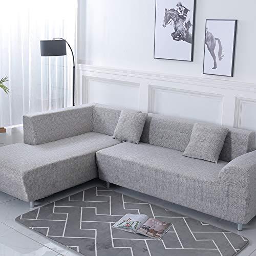 ele ELEOPTION Sofa Überwürfe elastische Stretch Sofa Bezug 2er Set 3 Sitzer für L Form Sofa inkl. 2 Stücke Kissenbezug (Hellgrau)