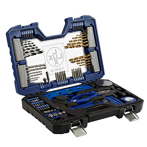LUX-TOOLS Bit- & Bohrer-Set, 101-teilig | Spiralbohrer- & Bit-Satz in Aufbewahrungs-Box mit Bohrern für Holz, Metall & Stein inkl. Lochsägen-Set, Bithalter, Drehmomentschrauber & diversen Werkzeugen