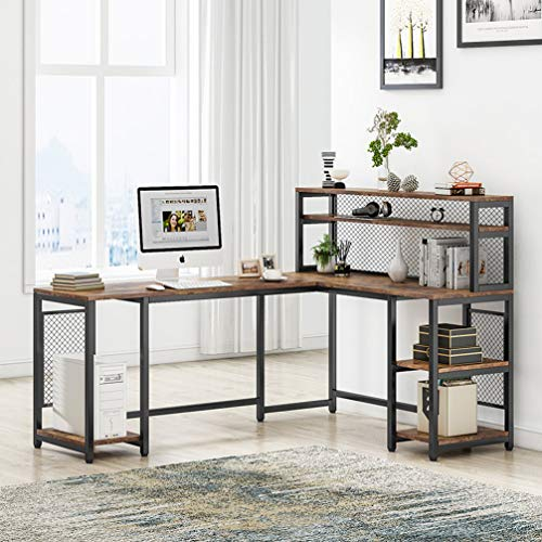 Tribesigns 67' Large Computer Desk with Hutch, Office Desk Study Table Writing Desk Workstation with 5 Storage Shelves 2 Tier Bookshelf for Home Office (Rustic Brown)