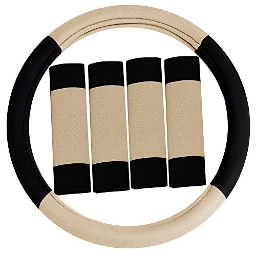 FH Group FH2033BEIGE Steering Wheel Cover (Modernistic and Seat Belt Pads Combo Set Beige)