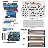 AZDelivery Kit de iniciación con 35 sensores en 1, libro Arduino Kompendium, microcontrolador, placa de control y cable Jumper Wire Set!