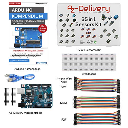 AZDelivery Starter Kit with 35 in 1 Sensors Kit, Arduino Compendium Book, Microcontroller, Breadboard and Jumper Wire Cable Set!