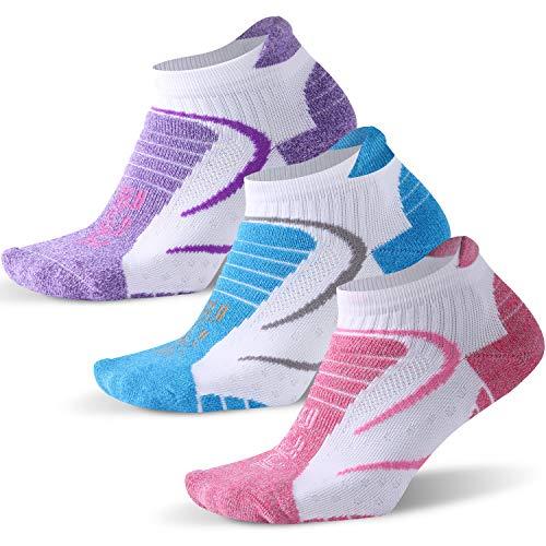 Facool Bombas Socken für Damen, No Show, athletisches Laufen, feuchtigkeitsableitend, blasenresistent, Langstrecken-Sportsocken, 3 Paar, mehrfarbig, Größe M