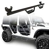 Hooke Road Jeep Wrangler Drop Side Steps Rails Nerf Bars Steel Running Boards for 2007-2018 Jeep Wrangler JK 4 Door(Exclude 2018 JL Edition)