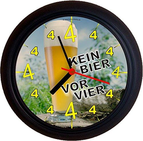 Lucky Clocks BIERUHREN KEIN Bier VOR Vier 4 Weißbier Geburtstag Wanduhren für jeden Anlass neutral