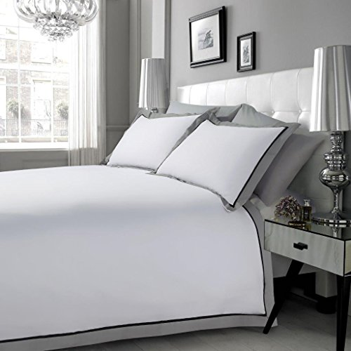 Hachette] 3PC 200TC [MAYFAIR/SUPER KING SIZE] WHITE BLACK GREY 100% EGYPTIAN COTTON DUVET COVER BEDDING BED SET WITH PILLOWCASES 200 THREAD COUNT