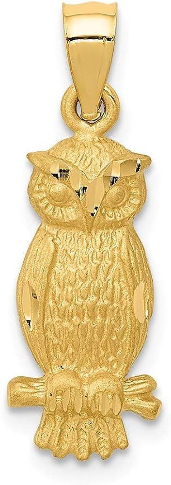 Solid 14k Yellow Gold Diamond-cut Owl Brushed Matte Finish Pendant Charm - 24mm x 8mm