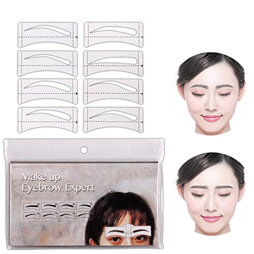 LanLan 32 Pcs/Set Fashion Sourcils Modèle Autocollants Maquillage Sourcils Pochoirs Dessin Carte