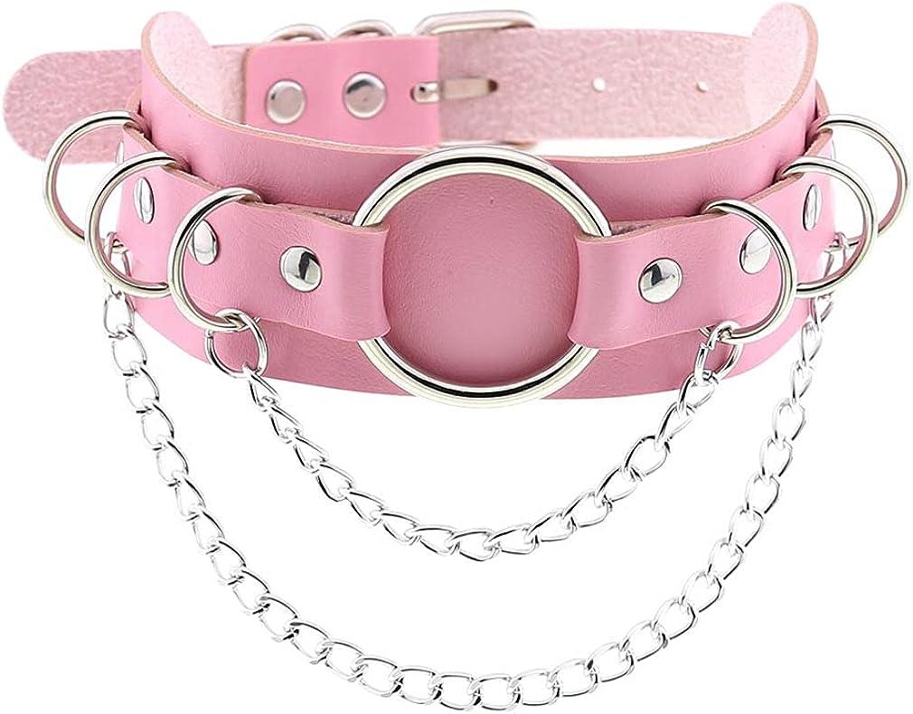 Women Punk Leather Necklaces Choker Girl Chain Rivet Rock Adjustable Collar Necklaces