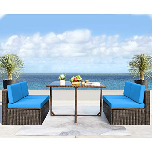 Tuoze 5 Pieces Patio Dining Sets Outdoor Rattan Armless Sofa with Glass Table Patio Furniture Sets Garden Dining Table and Chairs Set (Blue)