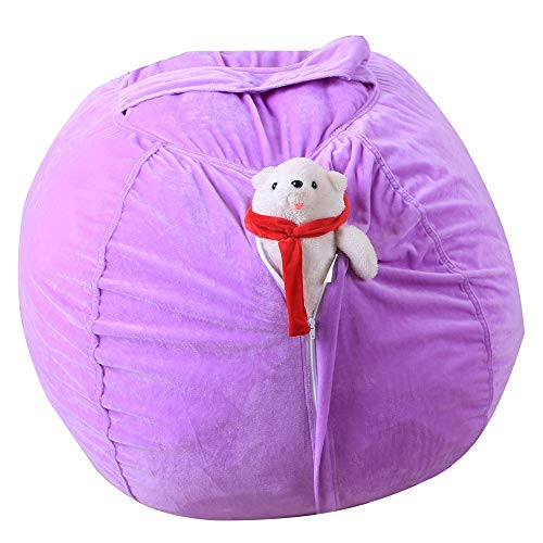 Fine Bean Bag Chair for Kids, Extra Large Bean Bag Chair Cover Toy Storage Home Stuffed Animal Storage Chairs, Store Bean Bag for Kids Toy Storage (Purple)