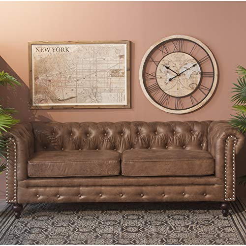 DRW Sofa Chester de 3 plazas con 2 Cojines Polipiel Marron 197x77x79cm