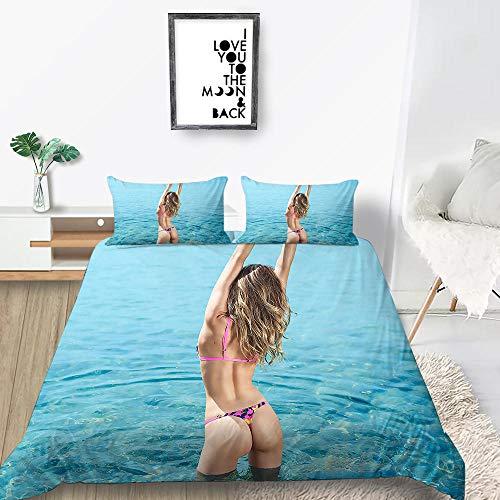 ACTMSY Juego de Funda 3 Piezas Conjunto de edredón 3D Belleza Bikini Impresa Funda de edredón 220X240 cm con Cierre con de Cremallera Microfibra Suave con 2 Fundas de Almohada,
