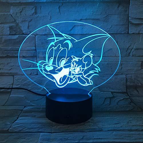 HHANN Nachtlicht Für Kinder Zeichentrick-Animierte Maus 3D Optische Illusions-Lampen, 16 Farben Ändern Led Täuschung Nachttischlampen Schlafzimmer Dekoration Als Geschenkidee Für Jungen Und Mädchen