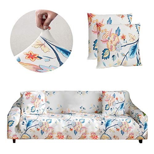 Bikuer Funda elástica para sofá de 3 plazas, diseño clásico de spandex, funda de sofá para 1 funda de almohada gratis (flor, 3 plazas, 170 x 215 cm)