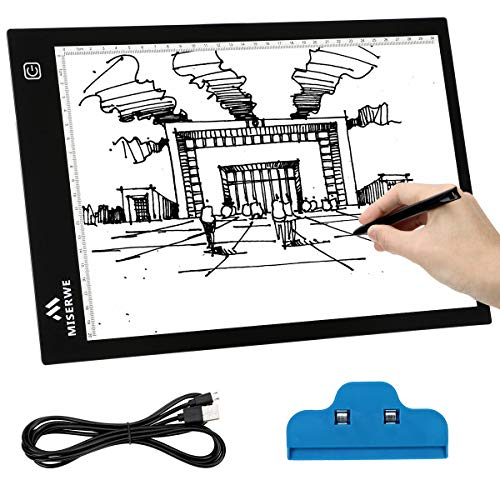 MISERWE A4 Light Table 4.0mm Ultra-Thin USB Powered Portable LED Light Box Artcraft Tracing pad for Sketching Artists Drawing Animation Stencilling X-rayViewing