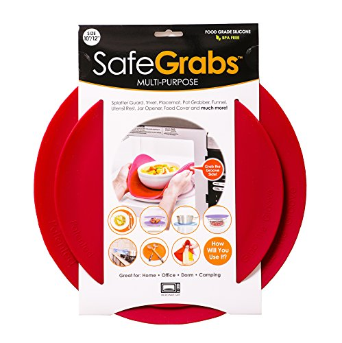 Safe Grabs: Multi-Purpose Silicone Original Microwave Mat as Seen on Shark Tank | Splatter Guard, Trivet, Hot Pad, Pot Holder, Minimize Mess (BPA Free, Heat Resistant, Dishwasher Safe)